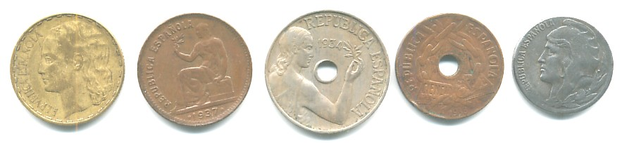 Varias monedas de la II República Española Republ10