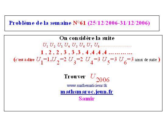 problème N°61 de la semaine (25/12/2006-31/12/2006) Semain11