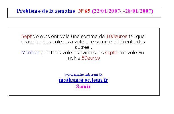 problème N°65 de la semaine (22/01/2007-28/01/2007) Semain15