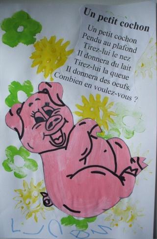 Comptines - Un petit cochon pendu au plafond ...