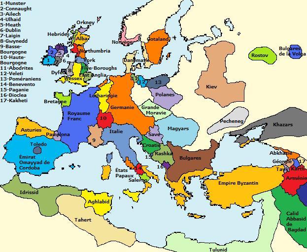 carte europe 900