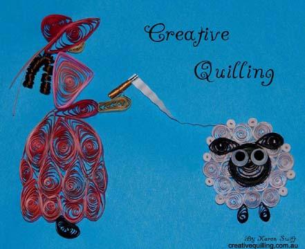 Квиллинг: Дама с овечкой