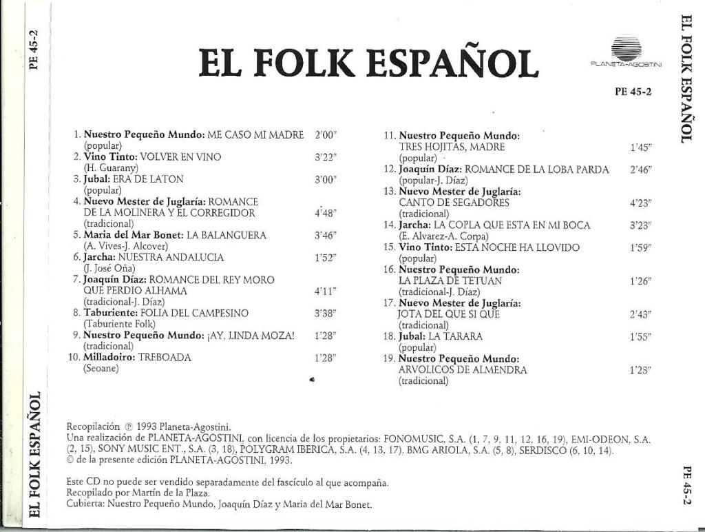 el fol11 - El folk español, V.A. - (SELLO Planeta-Agostini ) CD 1993